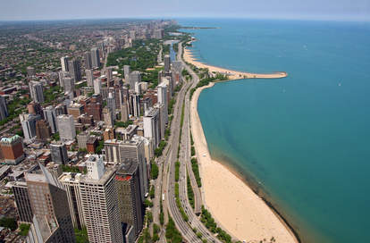 Overhead shot of Chicago