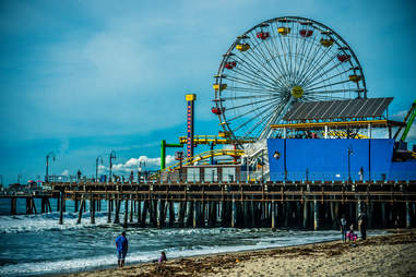 The ferris wheel at the santa monica pier in the afternoon