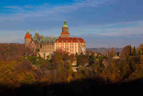 The Golden Hour falls on Ksiaz Castle in Poland