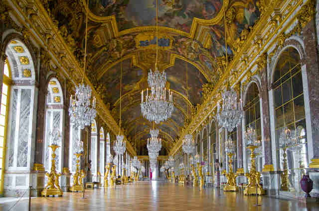Empty hall of mirrors at Palace of Versailles
