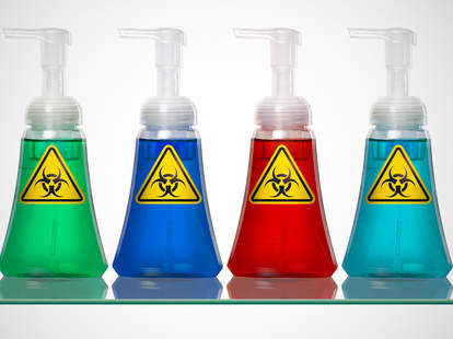 colorful handsoaps with toxic labels