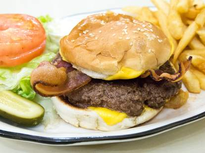 burger with bacon and pickle