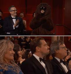 Leonardo DiCaprio and bear suit joke at Oscars
