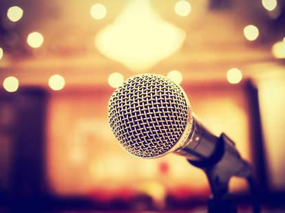 microphone, comedy club