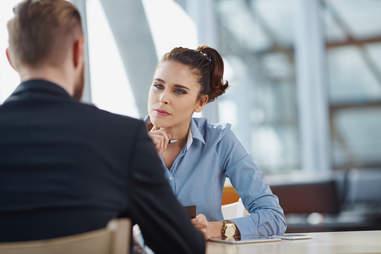 woman interviewing man
