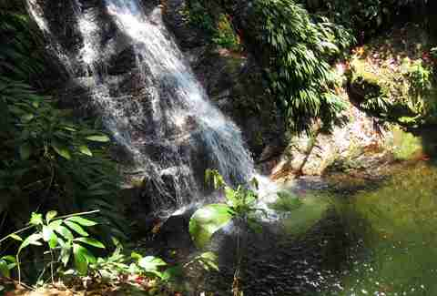 A cold waterfall flowing into a Honduras swimming hole