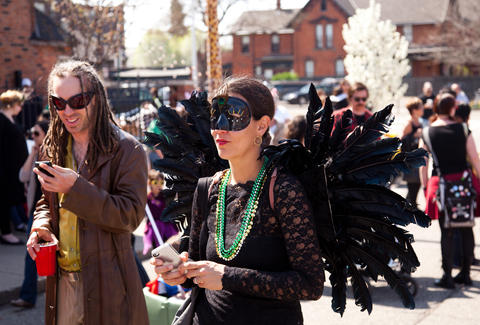 Masked guests at Detroit's Marche Du Nain Rogue