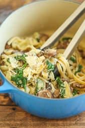 Mushroom, spinach, and artichoke pasta in pot