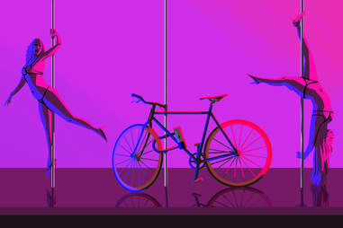 illustration of hipster strip club strippers fixed gear bicycle williamsburg new york