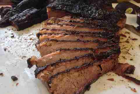 Brisket sliced and burnt on the edges