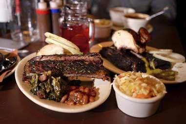 Brisket, beans, and a side of cole slaw
