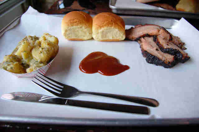 Brisket, rolls, and potato salad at Fette Sau