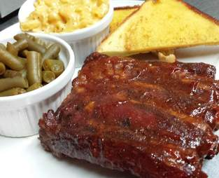 ribs green beans and mac and cheese from hilltop tavern