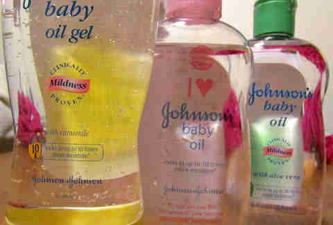 Bottles of Johnson's baby oil in a row