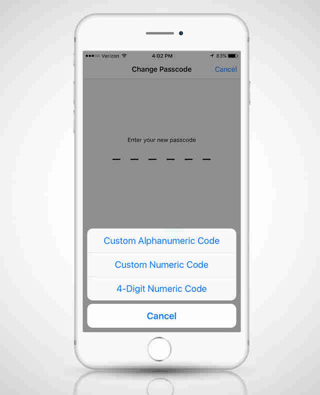 passcode setup for an iPhone 6s