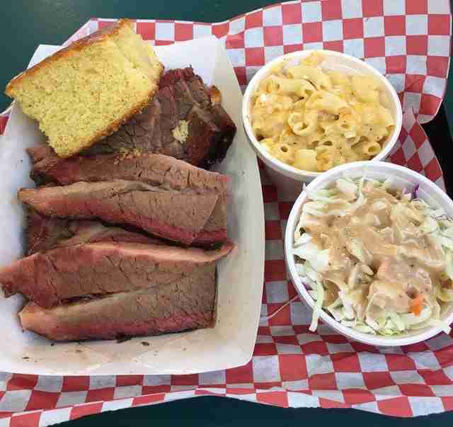 Sliced brisket and mac 'n cheese at Coop's West Texas BBQ