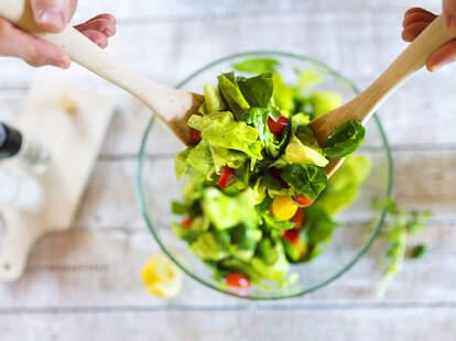salad, making a salad, healthy food