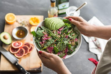 salad, avocado, salad dressing, salad toppings