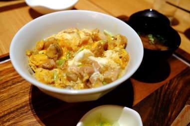 oyakodon close up meal japanese chicken dish