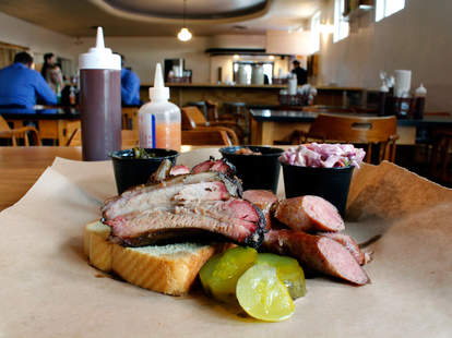 The Best Barbecue in Milwaukee bbq barbecue spread meats pickles white bread