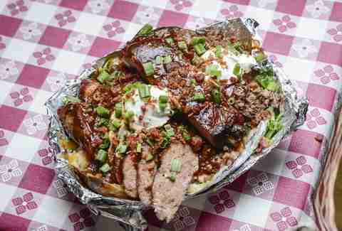 southern q bbw with brisket, ribs and scallions