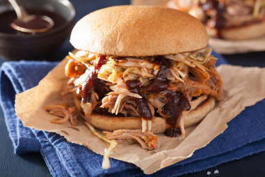 sandwich with bbq sauce and slaw