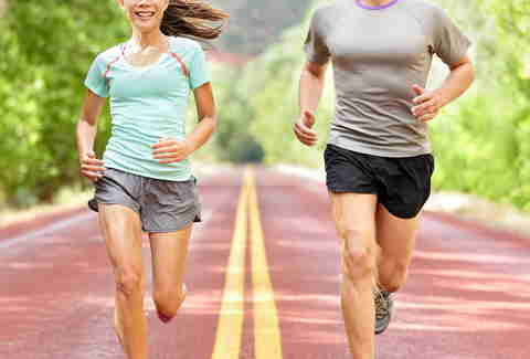 man and woman running and exercising outside