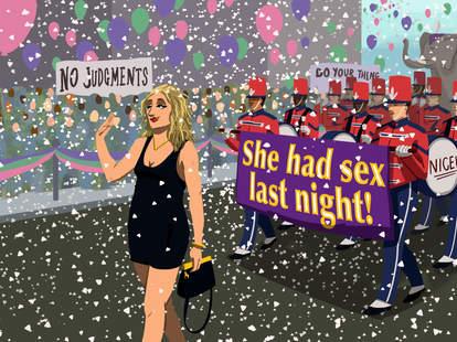 Illustration by Jason Hoffman of woman doing walk of shame
