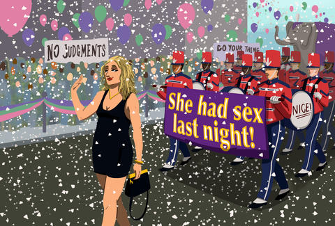 Illustration by Jason Hoffman of woman doing walk of shame