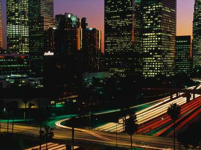 Los angeles at night cityscape and traffic