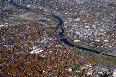 Aerial view of downtown Missoula Montana cityscape overheard