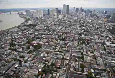 aerial of New orleans French Quarter overheard cityscape