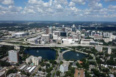 Orlando florida traffic overheard aerial shot