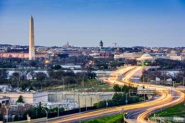 Washington dc traffic overheard aerial shot