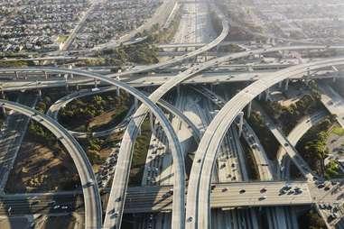 los angeles highway system overheard traffic aerial