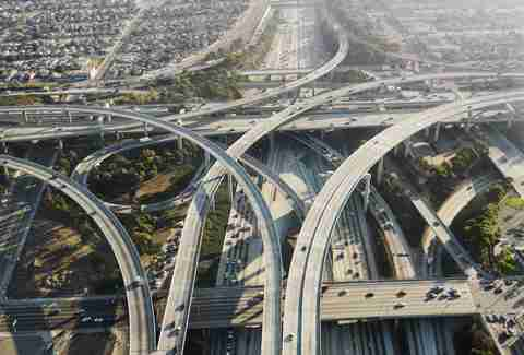 los angeles highway system overheard traffic aerial
