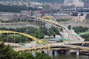 Fort Pitt bridge Pittsburgh Pennsylvania overhead shot