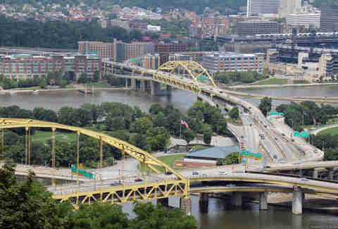 Fort Pitt bridge Pittsburgh Pennsylvania overhead shot