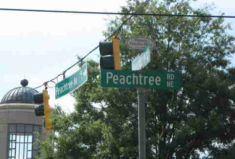 Atlanta street signs Peachtree traffic city scene