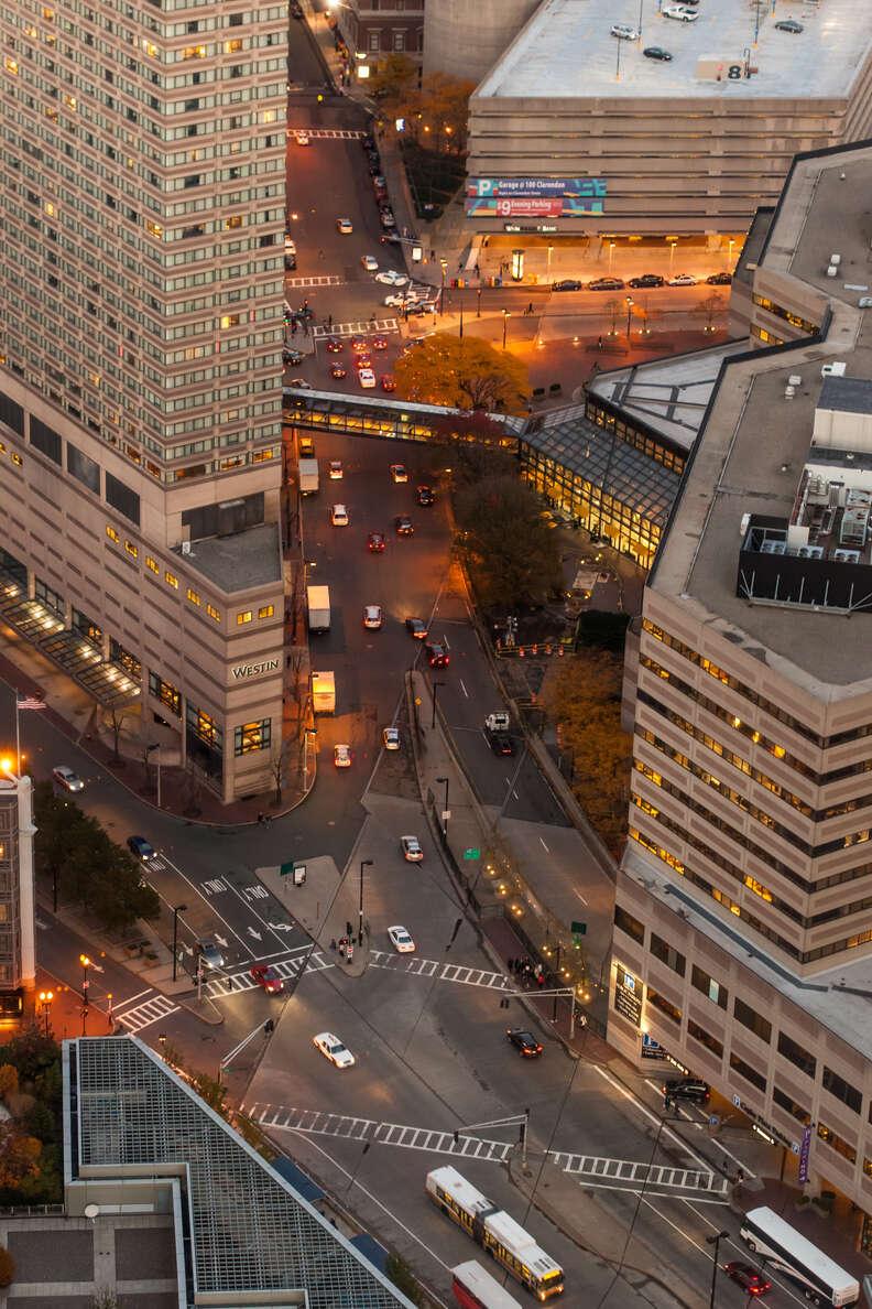 boston street overhead shot aerial cityscape