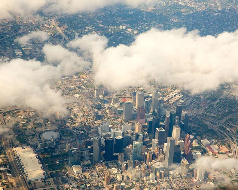 Houston texas aerial overhead shot cityscape skyline