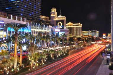 Las Vegas cityscape scene traffic at night