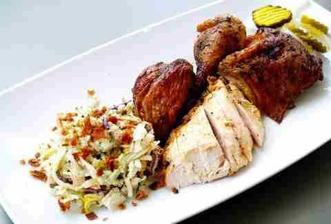 Sliced chicken and BBQ with cole slaw