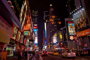 New York Times Square at night cityscape scene