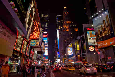 New York Times Square at night cityscape scene