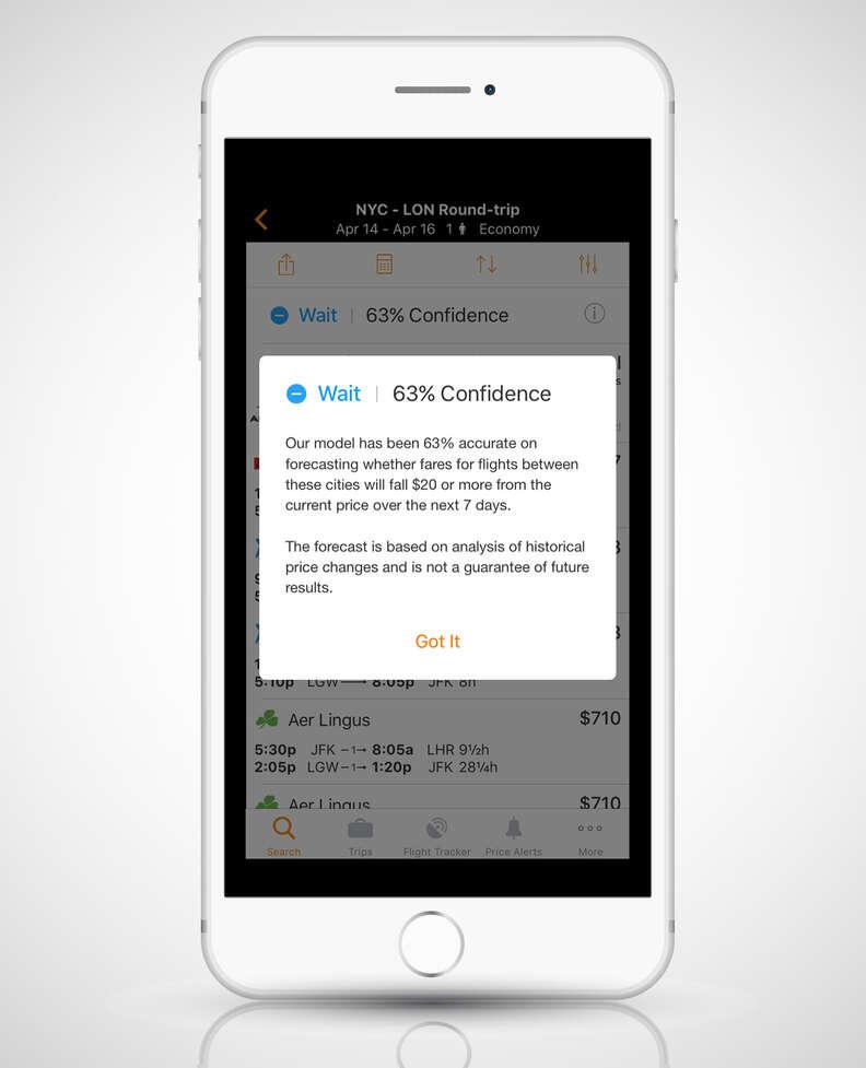 screenshot of Kayak's mobile app on iPhone 6s