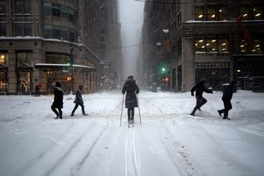 people in new york city in the snow