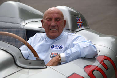 Sir Stirling Moss in his old Mercedes