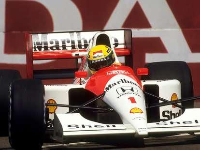 Ayrton Senna en route to winning the USGP