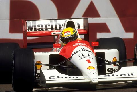 Ayrton Senna en route to winning the USGP